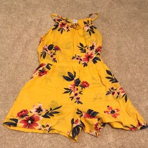 yellow floral kids romper